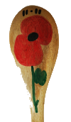 Poppy painted on a spoon